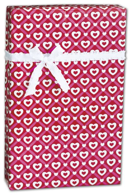 "Heart Lattice Gift Wrap, 24"" x 100'"
