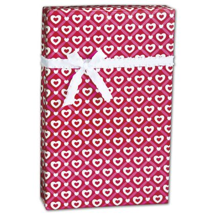 "Heart Lattice Gift Wrap, 24"" x 100'"