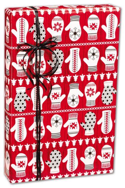 "Winter Mittens Gift Wrap, 24"" x 100'"