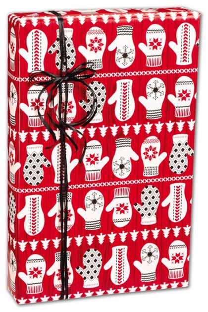 "Winter Mittens Gift Wrap, 24"" x 417'"