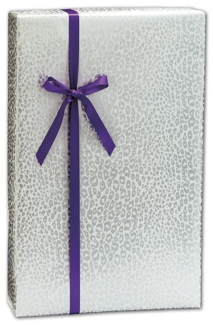 """Silver Cheetah Gift Wrap, 24"""" x 417'"""