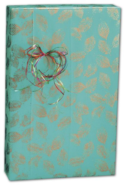 "Copper Leaves Gift Wrap, 24"" x 417'"