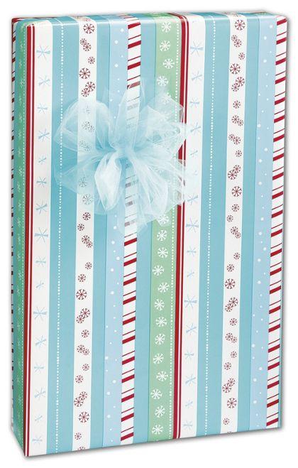 "Snowflake Stripe Gift Wrap, 24"" x 100'"