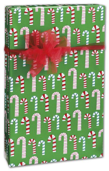 "Dotty Candy Cane Gift Wrap, 24"" x 417'"
