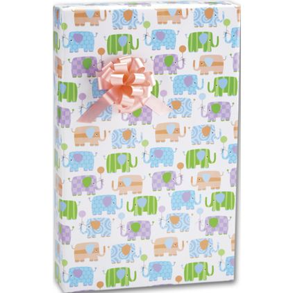 """Baby Elephants Gift Wrap, 24"""" x 100'"""