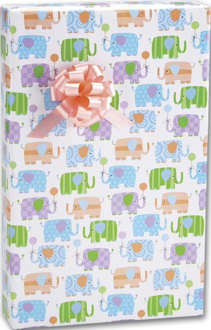 "Baby Elephants Gift Wrap, 24"" x 417'"