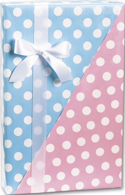 "Baby Dots Reversible Gift Wrap, 24"" x 100'"