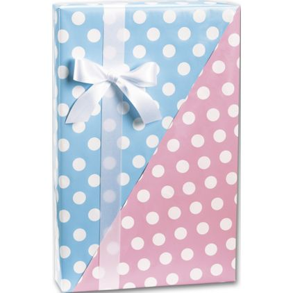 """Baby Dots Reversible Gift Wrap, 24"""" x 417'"""
