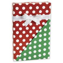 "Christmas Polka Dot Reversible Gift Wrap, 24"" x 100'"