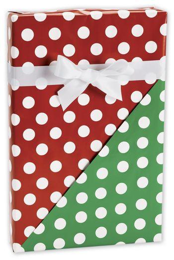 Christmas Polka Dot Reversible Gift Wrap, 24