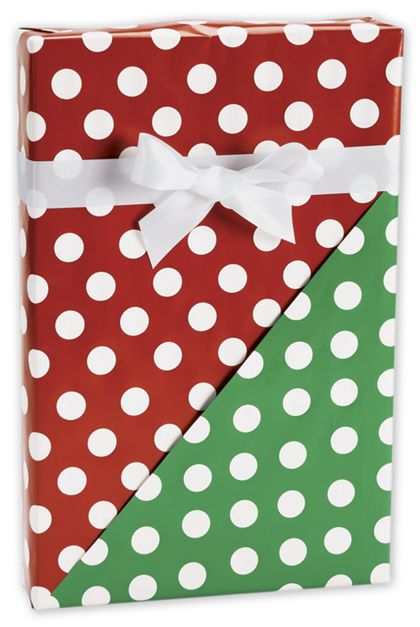 "Christmas Polka Dot Reversible Gift Wrap, 24"" x 417'"