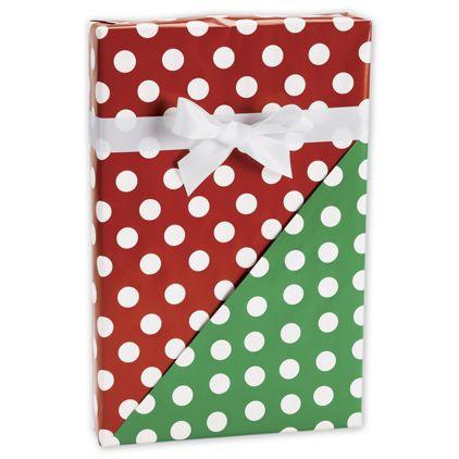 "Christmas Polka Dot Reversible Gift Wrap, 24"" x 417'"