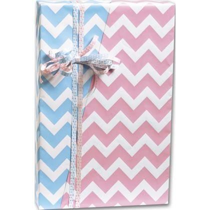 "Baby Chevron Reversible Gift Wrap, 24"" x 100'"