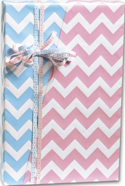 "Baby Chevron Reversible Gift Wrap, 24"" x 417'"