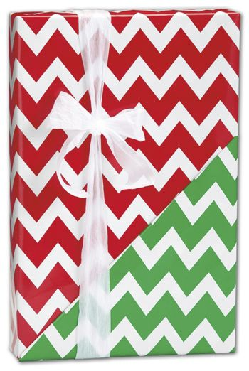 Christmas Chevron Reversible Gift Wrap, 24
