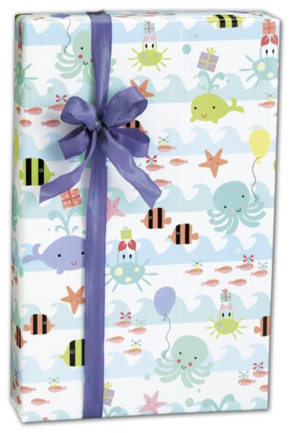 "Sea Babies Gift Wrap, 24"" x 100'"