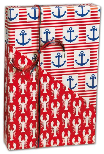 Ship Ahoy Reversible Gift Wrap, 24