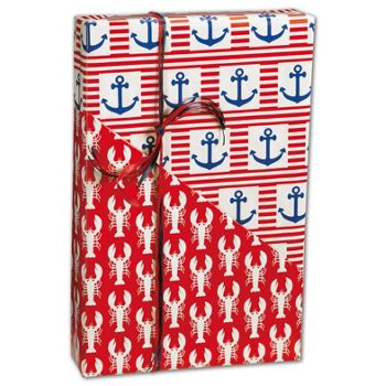 "Ship Ahoy Reversible Gift Wrap, 24"" x 100'"