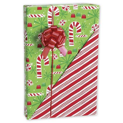"Contempo Canes Reversible Gift Wrap, 24"" x 100'"