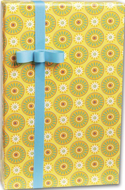 """Suzani Sunflowers Gift Wrap, 24"""" x 417'"""
