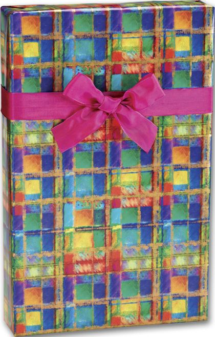 "Power Plaid Gift Wrap, 24"" x 100'"