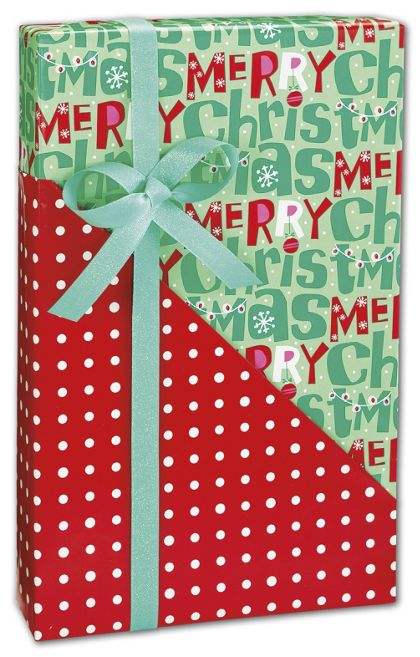 "Merry Christmas Reversible Gift Wrap, 24"" x 100'"