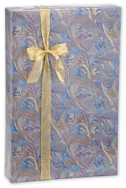 "Marbled Feathers Gift Wrap, 24"" x 100'"