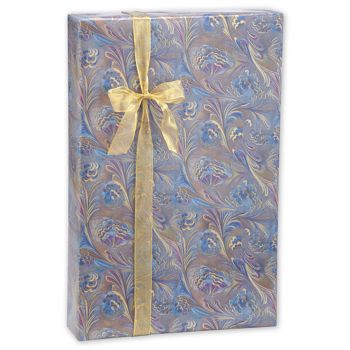 Marbled Feathers Jeweler's Roll Gift Wrap, 7 3/8