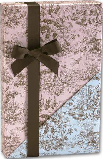 Baby Toile Reversible Gift Wrap, 24