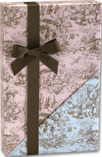 "Baby Toile Reversible Gift Wrap, 24"" x 417'"