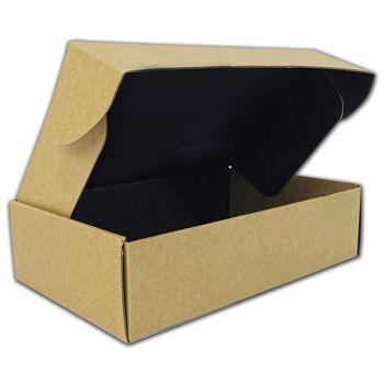 "Kraft Corrugated Mailer Box Black Interior 11 1/4x7 1/4x3"""