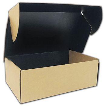 "Kraft Corrugated Mailer Box Black Interior 15x9 1/2x5 1/4"""