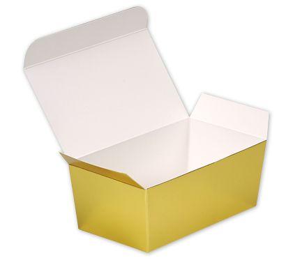 "Bright Gold Paper Ballotin Boxes, 5 7/8 x 3 1/4 x 2 1/2"""