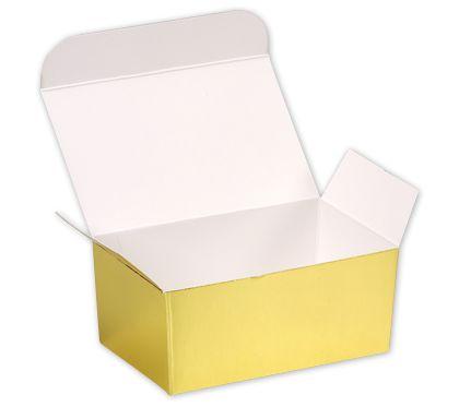 "Bright Gold Paper Ballotin Boxes, 4 1/8 x 2 5/8 x 1 7/8"""