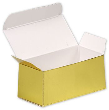 Bright Gold Paper Ballotin Boxes, 2 5/8 x 1 5/16 x 1 1/4