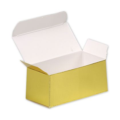 "Bright Gold Paper Ballotin Boxes, 2 5/8 x 1 5/16 x 1 1/4"""