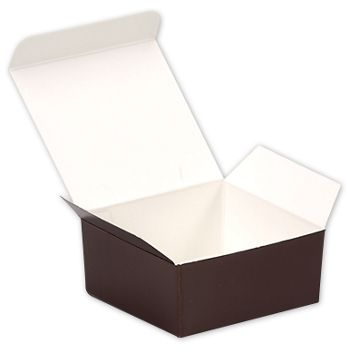 Brown Paper Ballotin Boxes, 2 5/8 x 2 1/2 x 1 1/4