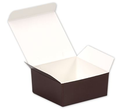 Brown Paper Ballotin Boxes, 2 5/8 x 2 1/2 x 1 1/4""