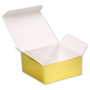 Bright Gold Paper Ballotin Boxes, 2 5/8 x 2 1/2 x 1 1/4