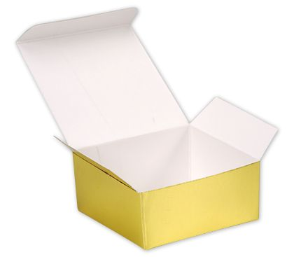 Bright Gold Paper Ballotin Boxes, 2 5/8 x 2 1/2 x 1 1/4""