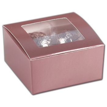 Rose Gold Ballotin Boxes with Window, 2 5/8x2 1/2x1 1/4
