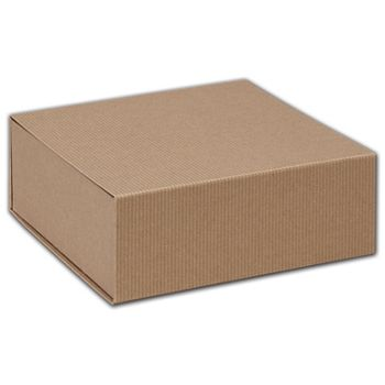Kraft Stripes Magnetic Closure Gift Boxes, 8 x 8 x 3 1/4