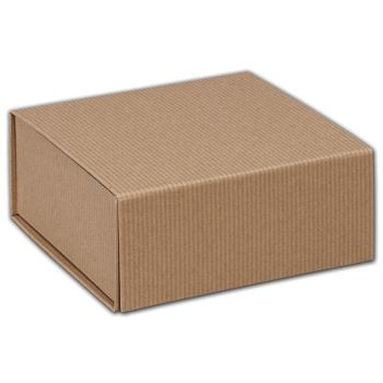 Kraft Stripes Magnetic Closure Gift Boxes, 6 x 6 x 2 3/4