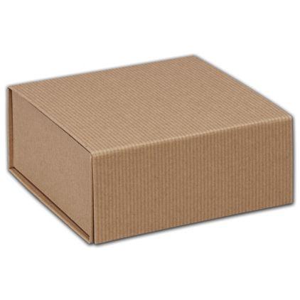 "Kraft Stripes Magnetic Closure Gift Boxes, 6 x 6 x 2 3/4"""