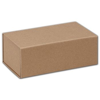 Kraft Stripes Magnetic Closure Gift Boxes, 7 x 4 x 2 3/4