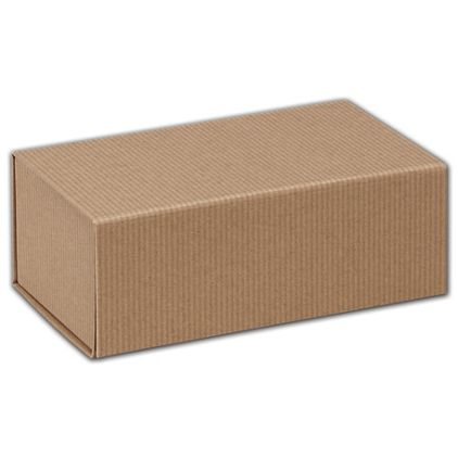"Kraft Stripes Magnetic Closure Gift Boxes, 7 x 4 x 2 3/4"""
