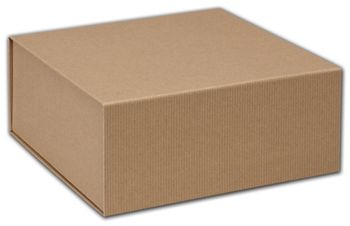 Kraft Stripe Magnetic Closure Gift Boxes, 10 x 10 x 4 1/2