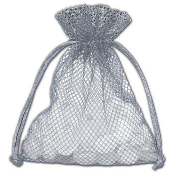 Grey Mesh Pouches, 5 x 6 1/2