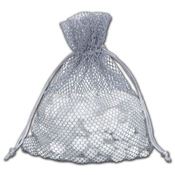 Grey Mesh Pouches, 5 1/2 x 9