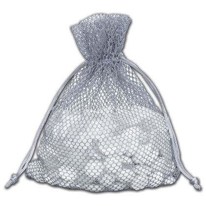 Grey Mesh Pouches, 5 1/2 x 9""